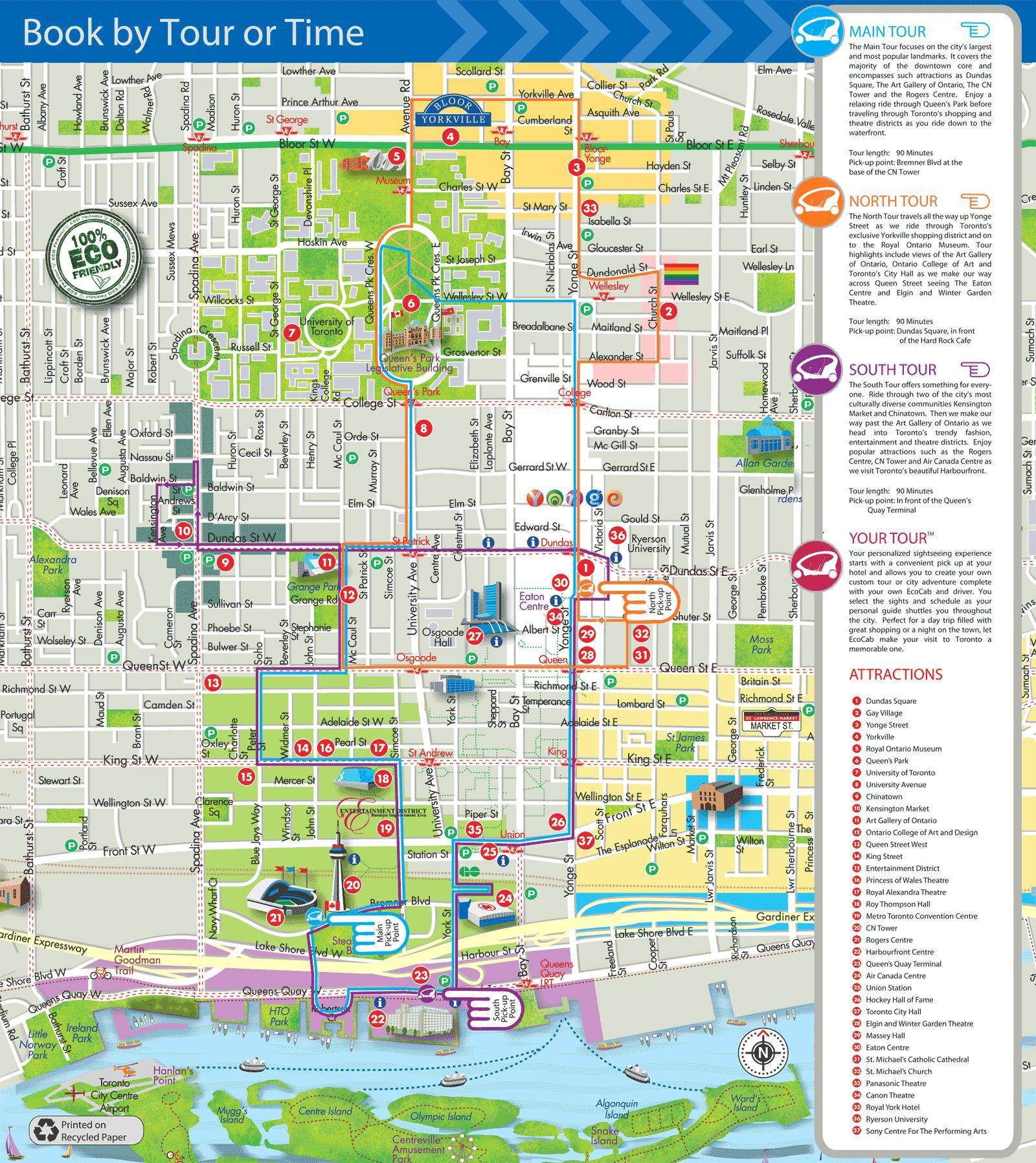 Karta Pa Kanada.Eco Cab Turer Toronto Karta Karta Over Eko Cab Turer Toronto Kanada
