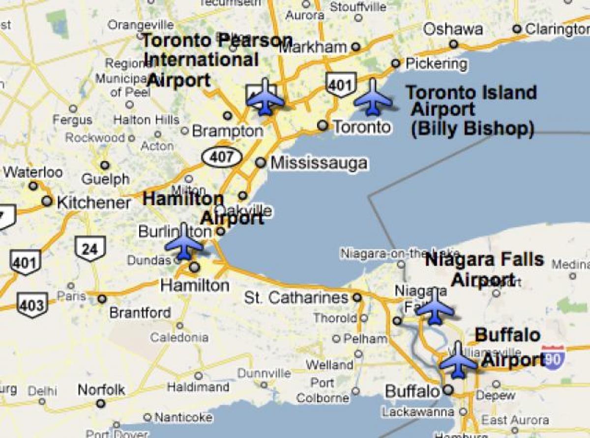 Karta Pa Kanada.Flygplatser Nara Toronto Karta Karta Over Flygplatser Nara Toronto